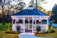 Holiday Lighted Gazebo At Golden Hour Empty