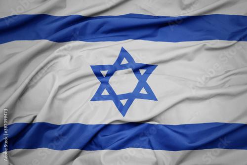 Obraz na plátně waving colorful national flag of israel.