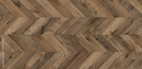 Fototapeta Herringbone parquet. Brown wood texture with natural pattern. Chopping board or floor surface. Natural wood texture background. obraz na płótnie