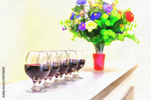 Fototapety, obrazy: Wine glasses standig in a row with flowers in vase