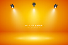 Empty Orange Studio Abstract Background With Spotlight Effect. Product Showcase Backdrop.