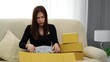 shocked frustrated woman customer open cardboard box receive wrong or damaged shopping order parcel