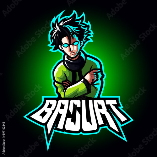 Fotografía Mascot esport character logo gaming green jacket costume ninja modern