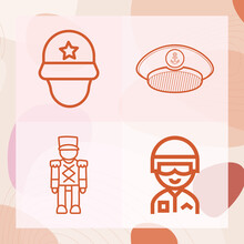 Simple Set Of Military Man Related Lineal Icons
