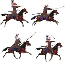 Japanese Samurai Riding A Horse Set, Archer, Gunman , Spearman And Swordman - Vector