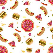 Seamless Pattern Pizza Hamburger Hot Dog