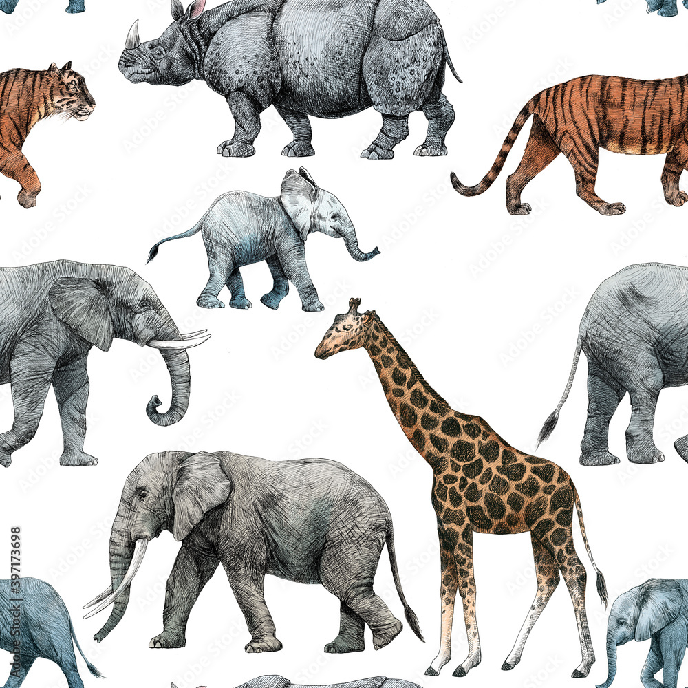 Fototapeta Beautiful stock seamless pattern with cute hand drawn safari giraffe elephant tiger monkey rhinoanimal pencil illustrations.