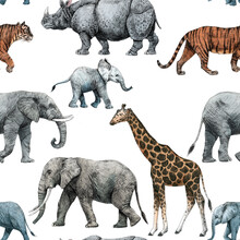 Beautiful Stock Seamless Pattern With Cute Hand Drawn Safari Giraffe Elephant Tiger Monkey Rhinoanimal Pencil Illustrations.