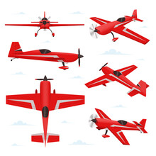 Aerobatic Aircraft In Different Views. Stunt Plane Illustration