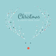 Minimalist Christmas Flyer/card Template With Reindeer Rudolph
