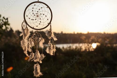 Beautiful handmade dream catcher outdoors. Space for text - fototapety na wymiar