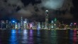 Hong Kong, China, timelapse view of famous Hong Kong skyline and Victoria Harbour at night.