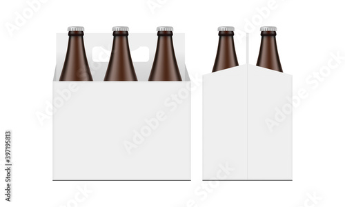 Obraz Cardboard Beer Bottle Carrier Packaging Box Mockup, Front and Side View, Isolated on White Background. Vector Illustration - fototapety do salonu