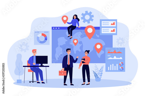 Team of professionals doing global business research. Business people near world map with pointers. Vector illustration for international development, company extension, marketing concept