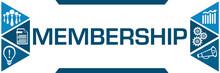 Membership Blue Triangles Both Sides Business Symbols
