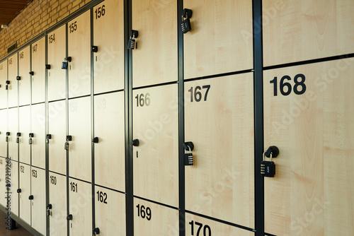 Obraz na plátně School lockers with safety locks