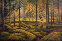 Oil Painting Landscape Summer Forest