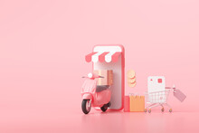 3D Fast Delivery Service Concept. Online Shopping And Free Shipping On Pink Background. 3D Render Illustration.