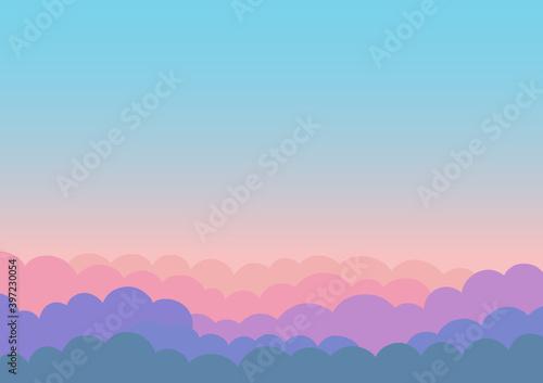 Vászonkép 美しい朝焼けの空のイラスト