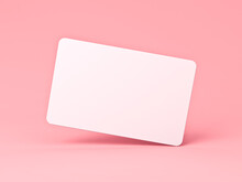 Blank White Card Isolated On Pink Pastel Color Background Minimal Conceptual 3D Rendering