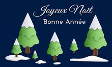 Carte Ou Bandeau Sur Joyeux Noël Et Bonne Année En Blanc Avec Des Sapins Vert Recouvert De Neige Sur Un Fond Marine