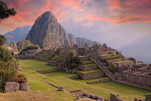 Beautiful Surroundings Of The Interior Of Machu Picchu In A Beautiful Summer Sunrise, Peru