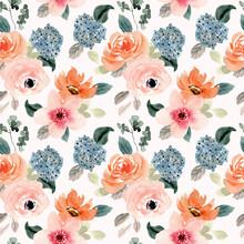 Lush Peach Blue Flower Watercolor Seamless Pattern
