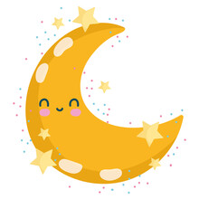 Weather Cute Half Moon And Glowing Stars Decoration