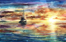 Beautiful Watercolor Sea Landscape Illustration With Sunset, Sky And Clouds, Ship, Vessel, Boat In Ocean, Water Reflections And Waves, Hand Drawn Seascape Painting With Yacht Silhouette Over Horizon.