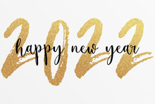 2022 - Happy New Year 2022 Gold Glitter