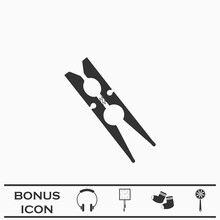 Clothespin Icon Flat.