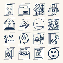 Simple Set Of Mystic Related Lineal Icons.