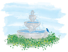 Bird On A Fountain - A Blue Bird Perched On A Fountain, Surrounded By Yellow Flowers.