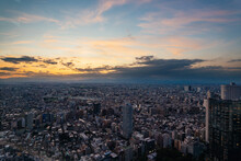 Cityscape With Beautiful Sunset From A Skyscraper In Tokyo, Japan