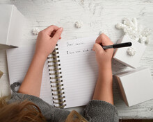 Child Writing Letter To Santa Clause