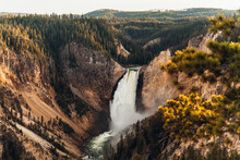Lower Yellowstone Falls At Sunset In Yellowstone National Park, Wyoming