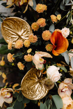 Still Life With Natural Flowers And Dried Flowers Painted In Gold