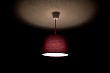 Purple Ceiling Lamp Lit In Dar...