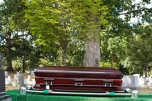 Coffin Lowering Into Grave In Military Cemetery, Arlington, Virginia, United States