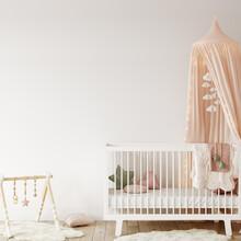 Wall Mockup In Child Room Interior. Nursery Interior In Scandinavian Style. 3d Rendering, 3d Illustration