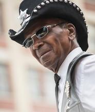 Senior African American Man Wearing Cowboy Hat