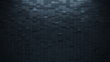 Futuristic, High Tech, Dark Background, With A Rectangular Block Structure. Wall Texture With A 3D Rectangle Tile Pattern. 3D Render