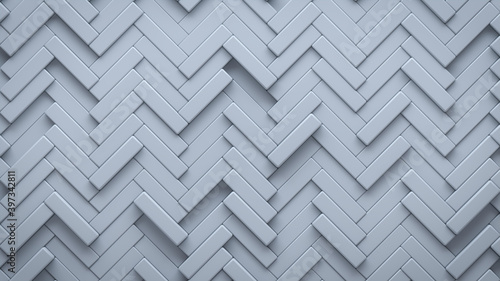 Futuristic, High Tech, light background, with a herringbone block structure. Wall texture with a 3D parquet tile pattern. 3D render