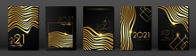 Set Cards 2021 Happy New Year, Gold Africa Zebra Texture, Black Modern Background, Elements For Calendar And Greetings Card Or Christmas Themed Winter Holiday Invitations With Geometric Decorations