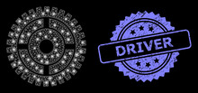 Grunge Driver Stamp And Bright Web Net Clock Wheel With Light Spots