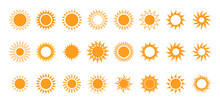 Sun Icon Collection. Yellow Sun Star Icons Collection. Summer, Sunlight, Nature, Sky. Vector Illustration Isolated On White Background.