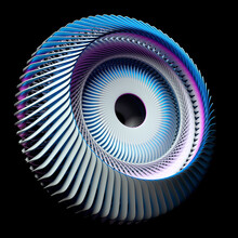 3d Render Of Abstract Art With Surreal 3d Machinery Industrial Turbine Jet Engine Or Wheel In Spherical Spiral Twisted Shape With Sharp Fractal Blades In Blue And White Ceramic On Black Background