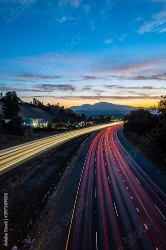 Fototapety, obrazy: Mount Diablo over Highway 24 at Dawn