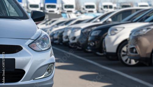 Fototapeta Cars in a rows. Used car sales obraz na płótnie