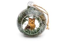 Christmas Ball Decorated By Owl On White Background.